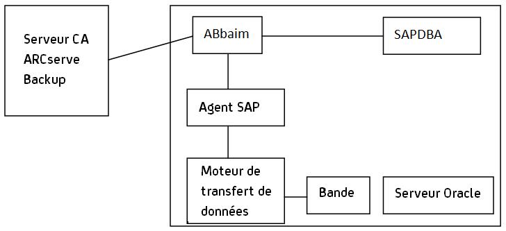 le diagramme suivant illustre la sauvegarde de bases de donn�es sap r/3  vers les serveurs ca arcserve backup distants :