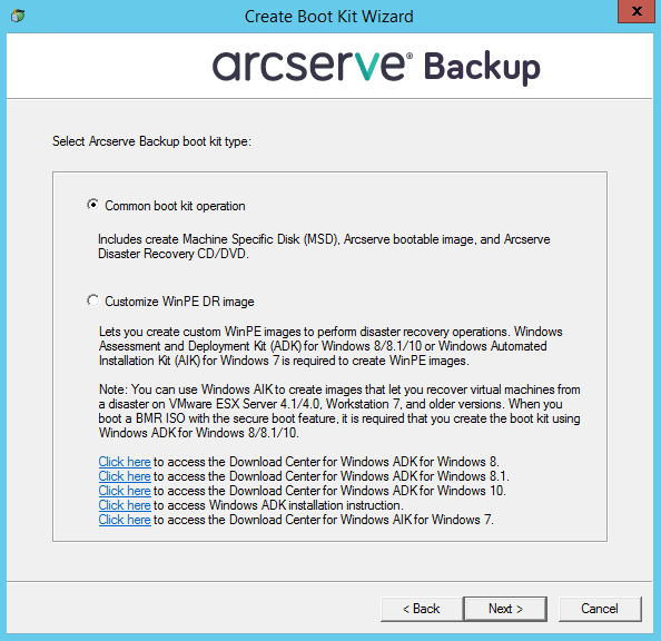 Arcserve® Backup for Windows Disaster Recovery Option