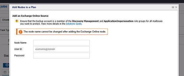 Add an Exchange Online Node